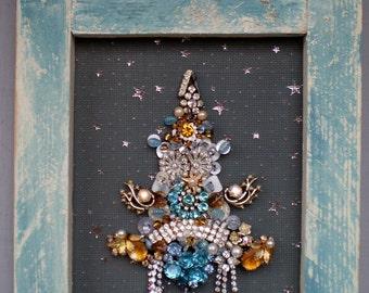 Starry Night Jeweled Tree in Primitive Chalk Blue Frame