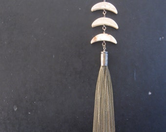 Tres Lunas - Vintage Stone Crescents with Long Bullet Tassel Necklace