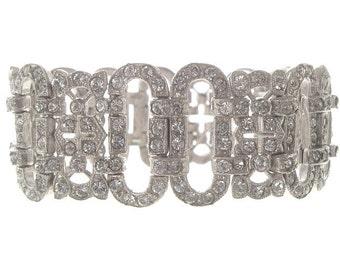 Art Deco Rhinestone Bracelet, Vintage 1920s Designer Statement Jewelry, Wide Antique Cuff, Art Deco Wedding Jewellery