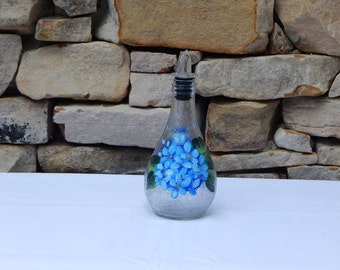 Hand Painted Glass Bottle with blue hydrangea and Free Flowing Spout