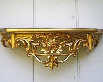 Vintage Dart Shelf Ornate Gold Gilded Hollywood Regency 1969