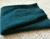 Recycled cashmere wool leg warmers, emerald green