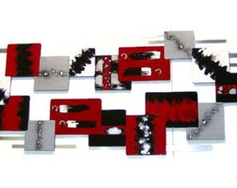 HUGE Modern Abstract Red & Black Wall Sculpture, Bold and Stunning Contemporary Art Wall decor 95x25