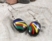 Handmade Fused Glass Earrings Black Multi Color Lines Jewelry Fashion Accessories Bling A1622B4