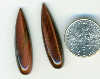 RED TIGEREYE A+ Grade One Pair 8x30mm Drop Cabochons