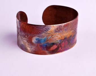 New Etched copper badger cuff bracelet