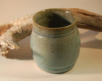 Pottery Tumbler, Turquoise With Smoky Mountain Mist Glaze - Beverage Holder, Pencil Holder, Tooth Brush Holder
