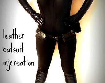 CATSUIT cat woman in leather new fabric  custom made at your measurements all included belt gloves