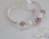 Swarovski Crystal & Pearl Jewelry -  Light Amethyst and Pearl Bracelet - Bridal, Wedding, Bridesmaids, Maid of Honor