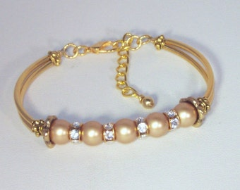 Swarovski Pearl & Crystal Jewelry - Vintage Gold with Crystal Rondelles - Made to Order - Any Size