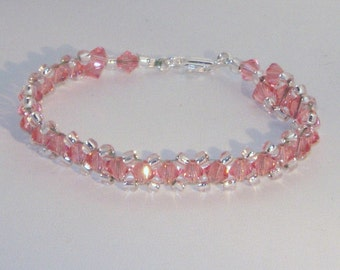 Swarovski Crystal Jewelry - Rose Peach Crystal Bracelet - Any Color - SHIPS WITHIN 24 Hrs