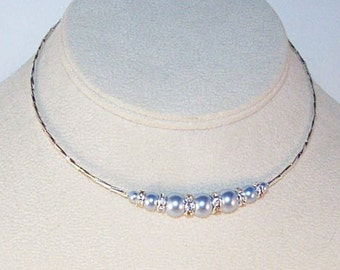 Swarovski Pearls and Crystal Illusion Necklace - Made to Order - Available in All Colors - Bride, Bridesmaid, Maid of Honor, Flower Girl