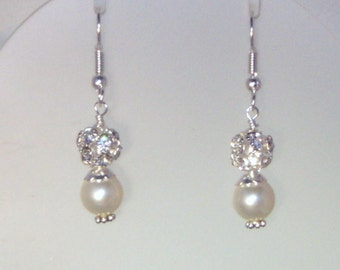 Swarovski Pearl & Crystal Jewelry - Shown with Cream/Ivory Pearls and Silver Fireballs - Any Color