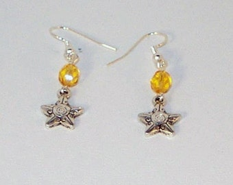Silver Star and Topaz Crystal Earrings