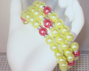Glass Pearl Bridal Jewelry - Shown in Lemon & Cranberry - Any Color - Bride, Bridesmaid, Maid of Honor, Jr Bridesmaid
