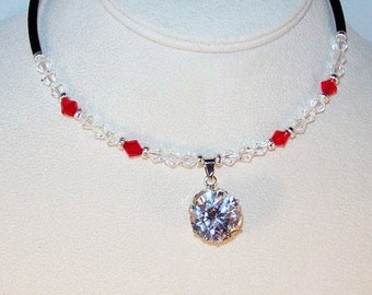Cubic Zirconia and Swarovski Crystal Necklace