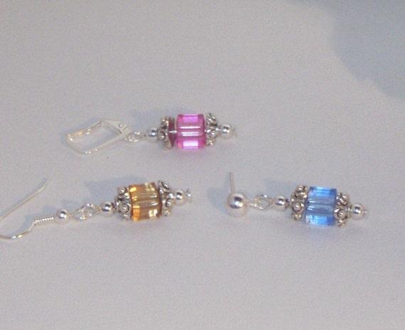 Swarovski Crystal Earrings - Cubes - Bride, Bridesmaids, Maid of Honor, Jr Bridemaids - 1 pair any color