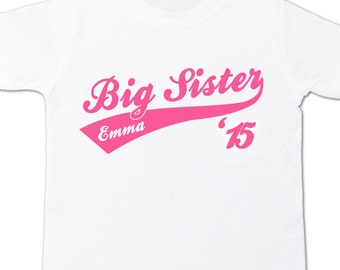 Big sister or big sister to be '15 sporty swoosh Tshirt