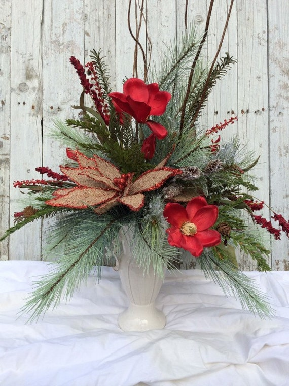 Items similar to christmas centerpiece red magnolia table