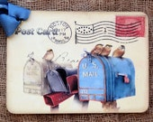 Sweet Birds On Mailbox Postcard Gift or Scrapbook Tags or Magnet #589