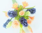 Miniature Polymer Clay Flowers Deep Blue Hyacinth and Roses Bouquet