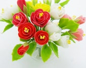Blooming Miniature Polymer Clay Flowers Supplies Charming Peony in glass vase 1 piece
