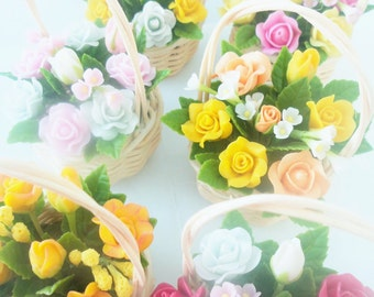 Miniature Roses Queen of Flowers from Polymer Clay in Rattan Basket, set of 6 baskets