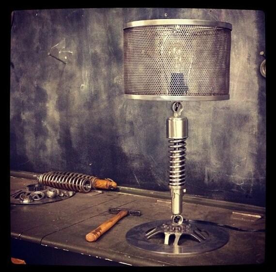custom metal mesh table lamp shade. Black Bedroom Furniture Sets. Home Design Ideas