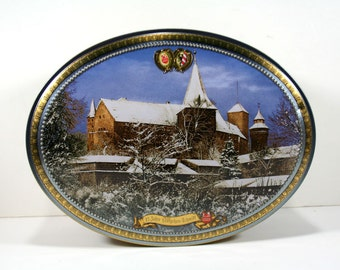 Vintage Extra Large German Christmas Cookie Tin - Oval Shaped