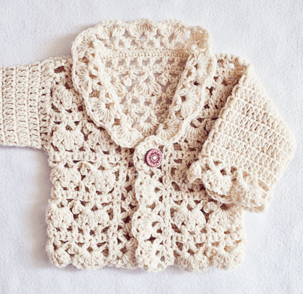 Crochet PATTERN Harriet Lace Cardigan sizes newborn up to 8