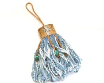 Southwestern Faux Leather Recycled Denim Tassel, Rustic Handmade Tassel
