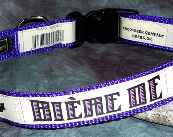 Adjustable Dog Collar from Recycled Choc Beer Co. Biere De Garde Beer Labels