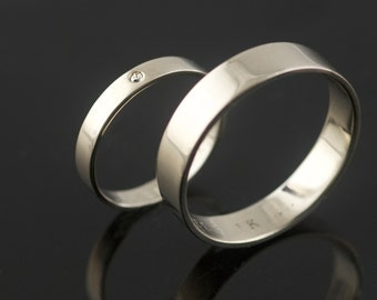 Recycled 14k Palladium White Gold Wedding Ring Set with Diamond Hand Made in Portland, OR