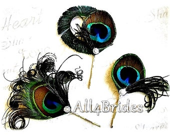 Peacock feather hair pins, peacock weddings something blue or bridesmaids hair accessories.