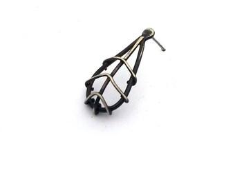 Single Earring, EAD2015 #73/365: Asymmetric Stud Earring, Sterling Silver Post Earring, Oxidized Silver Contemporary Jewelry