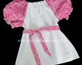 Peasant Blouse Pink Bandana & White with Detachable Belt Sash
