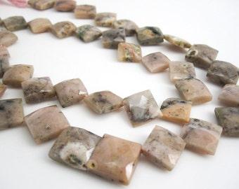 Pink Peruvian Opal Beads, Pink Opal Beads, Peruvian Opal Beads, Faceted Diamond Cut, 9mm to 10mm, Pink Gemstone, SKU 3991A