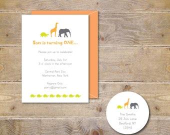 First Birthday Invitations, Animal Birthday Invitations, Zoo Birthday Invitations, Zoo Invitations, Turtles. Giraffe, Elephant - Zoo Friends
