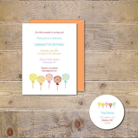 Lollipop Birthday Invitations, Candy Birthday Invitations, First Birthday Invitations, Second Birthday, Candy Party - Lollipop Sweet Shoppe