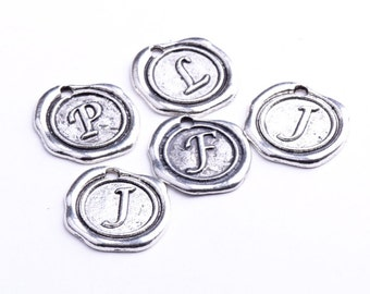 18mm Antique silver Wax Seal Charms, pack of 6, 05229AS