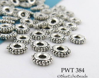 Pewter Beads Small Spacer Saucer with Beaded Edge Antique Silver 6mm (PWT 384) 40 pcs BlueEchoBeads