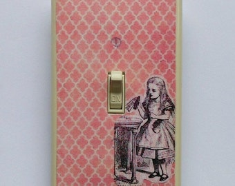 Alice & the Magic Bottle Switchplates w/ MATCHING SCREWS- Alice Morroccan tile Bohemian art antique Alice in Wonderland book Drink me bottle