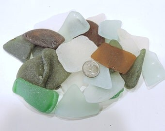 BULK of Large and Thin SEA GLASS Good quality Lot of 10-14 pieces / For crafts and jewelry / K 11