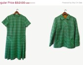 MOVING SALE - vintage 60s shift dress and jacket set, green variegated knit, size l xl