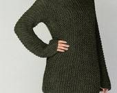 Hand knit sweater - Eco cotton long sweater in Fall Green