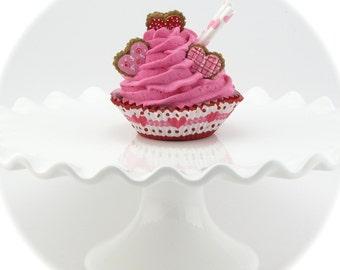 Valentine Fake Cupcake. Fake Cupcake with Heart Cookies. Photo Prop, Kitchen Decor. 12 Legs Etsy Design! Valentine Gift!