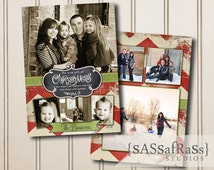 Gather--Christmas Card Template for Adobe Photoshop, Photographer Template, Instant Download, DIY, Commercial Use