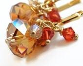 Crystal Copper Rondelle Earrings - Fall Earrings
