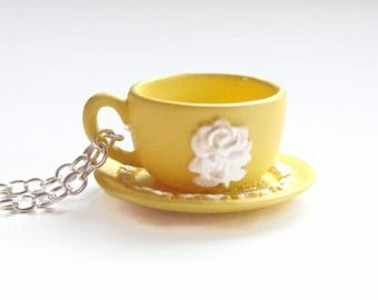 Miniature Yellow Teacup Necklace - Rose Motif