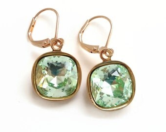 Mint green crystal square dangle earrings - Swarovski crystal - crystal earrings - mint green earrings - light green crystal